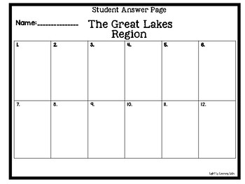 The Great Lakes Region Task Cards