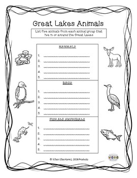 The Great Lakes Worksheets