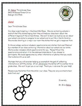 The Great Mail Race Teacher Letter