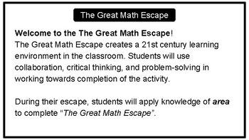 The Great Math Escape - Area