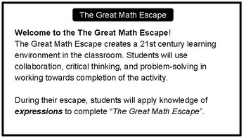 The Great Math Escape - Expressions