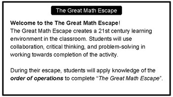 The Great Math Escape - Order of Operations