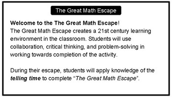 The Great Math Escape - Telling Time