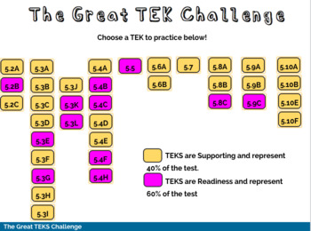 The Great Math TEK Challenge Printable and BOOM Cards Bundle