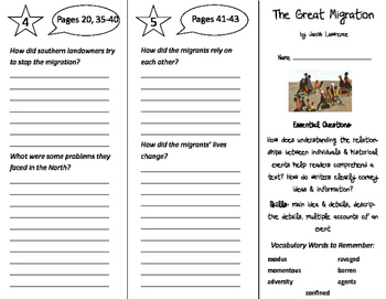 The Great Migration Trifold - ReadyGen 2016 5th Grade Unit 2 Module B