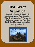 ReadyGen The Great Migration Vocabulary 5th grade Unit 2 Module B