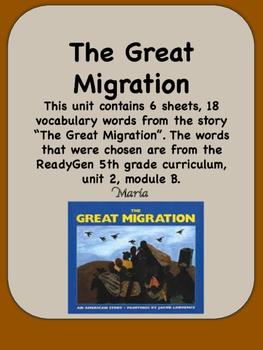 ReadyGen The Great Migration Vocabulary 5th grade Unit 2 Module B