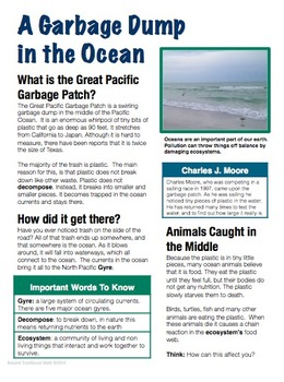 The Great Pacific Garbage Patch: Earth Day Cross Curricular Study (Grades 3-5)