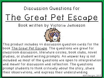 The Great Pet Escape Discussion Question Cards