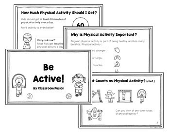 Physical Activity Log and Challenge, Exercise Cards, Health and Wellness