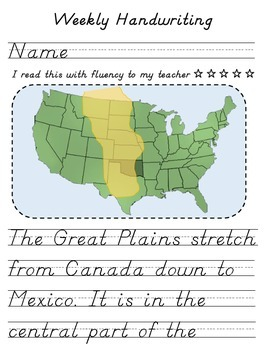 The Great Plains Handwriting Activity