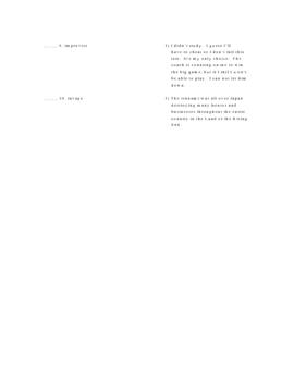 The Great Rat Hunt Vocabulary Quiz Worksheet