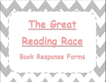 The Great Reading Race Literacy Center - Gray Chevron w/ Pink