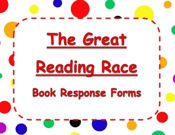 The Great Reading Race Literacy Center - Rainbow Polka Dots