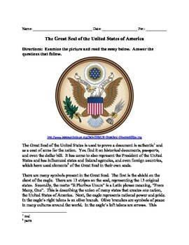 75e1103ff The Great Seal of the United States by MiddleSchoolHistory | TpT
