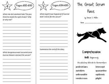 The Great Serum Race Trifold - California Treasures 6th Grade Unit 6 Week 4