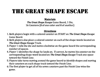 The Great Shape Escape - A 2-Player Game to Identify Plane Figures