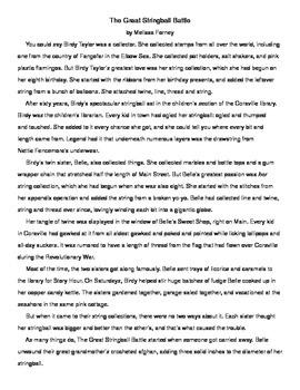 Fiction Passage and Questions Grades 4 - 6