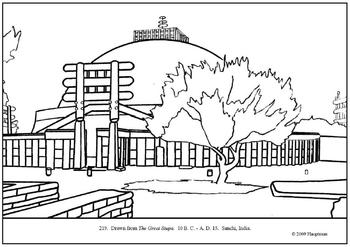 The Great Stupa.  Coloring page and lesson plan ideas
