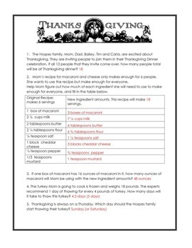 The Great Thanksgiving Fun Activity Pack Answer Key