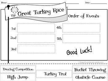 HOLIDAY: Thanksgiving-'The Great Turkey Race, Literacy and Math Activities