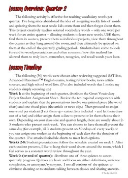 The Great Vocabulary Project: High School Activity, Quizzes: quarter two, 11-12