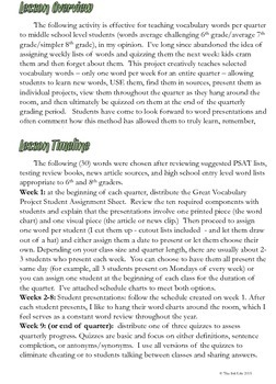 The Great Vocabulary Project: Middle School Activity, Quizzes: quarter one