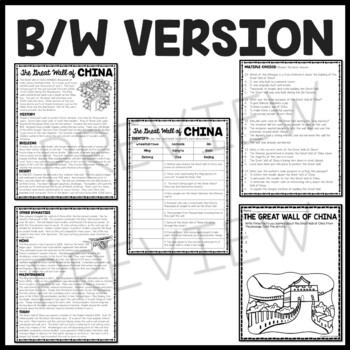 The Great Wall of China Reading Comprehension; Ancient China