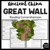 The Great Wall of China Reading Comprehension Ancient China Worksheet