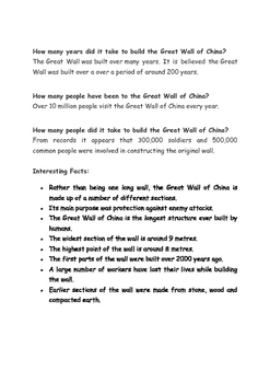 The Great Wall of China Reading Passages and Questions
