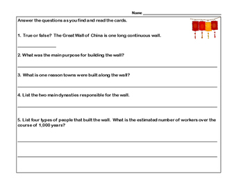 The Great Wall of China- Scavenger Hunt- Read and Write The Room- Grades 4-7