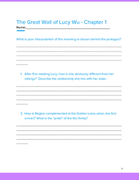 The Great Wall of Lucy Wu Chapter Questions