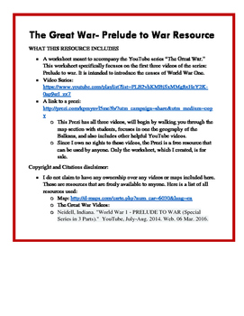 The Great War :  Prelude to War Worksheet