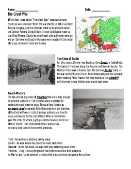 The Great War Reading and Questions, WWI Packet