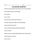 The Great War: WWI Worksheet Accompanies PowerPoint