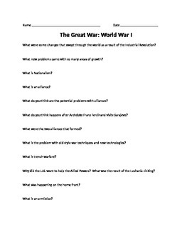 The Great War: WWI Worksheet Accompanies PowerPoint