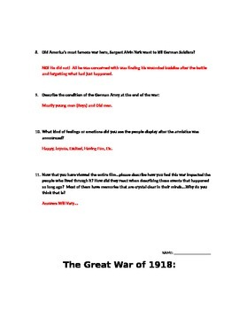 The Great War of 1918: The American Experience w/ David McCullough Video Guide