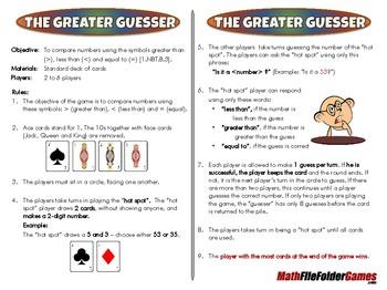 The Greater Guesser - 1st Grade Math Game [CCSS 1.NBT.B.3]