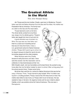 The Greatest Athlete in the World: The Jim Thorpe Story (Lexile 830)