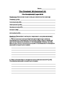 The Greatest: Muhammd Ali Guided Reading Questions