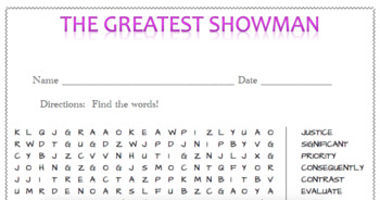 The Greatest Showman Vocabulary