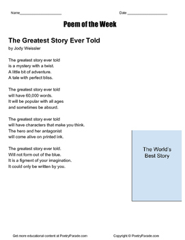 The Greatest Story Ever Told - Poem of the Week with questions by Jody Weissler