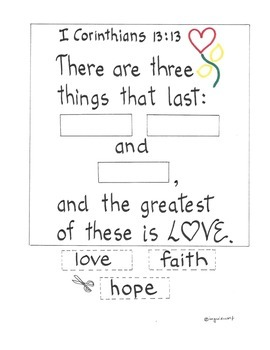 The Greatest of These is Love - I Corinthians 13:13 activity pack