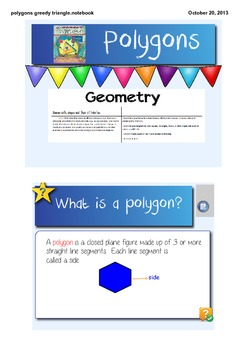 The Greedy Triangle Polygons Geometry Interactive Smart Board Lesson CCSS 3.G.1