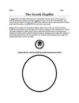 The Greek Hoplite Shield Worksheet