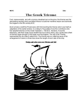 The Greek Trireme Worksheet, Drawing Activity and Creative Writing Assignment