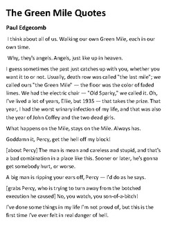 The Green Mile Film Quotes Handout