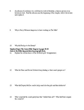 The Green Mile Study Guide Questions