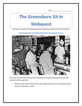 The Greensboro Sit-In - Webquest and Video Analysis with Key