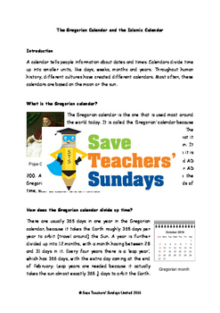 The Gregorian and the Islamic Calendars Lesson plan,Text and Worksheets